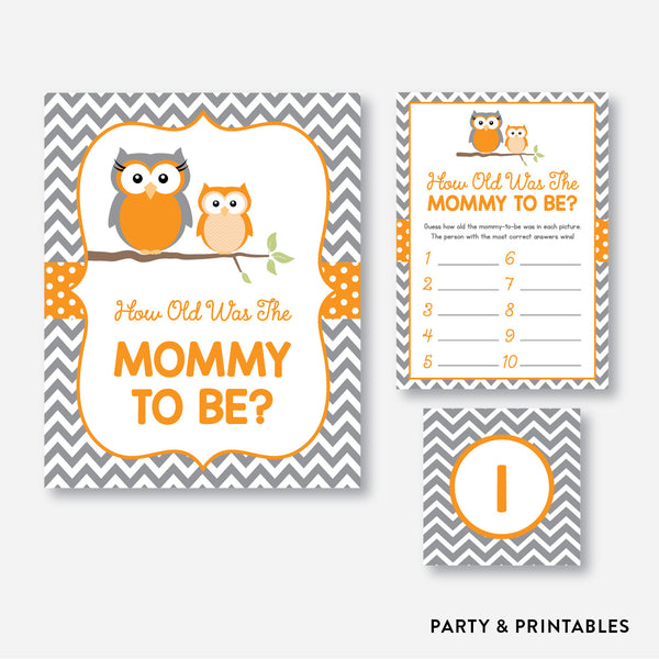 Owl How Old Was Mommy To Be / Non-Personalized / Instant Download (SBS.47), party printables - Party and Printables