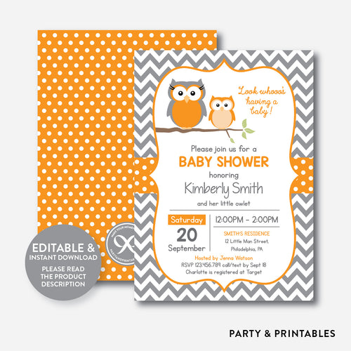 Owl Baby Shower Invitation / Editable / Instant Download (SBS.47)