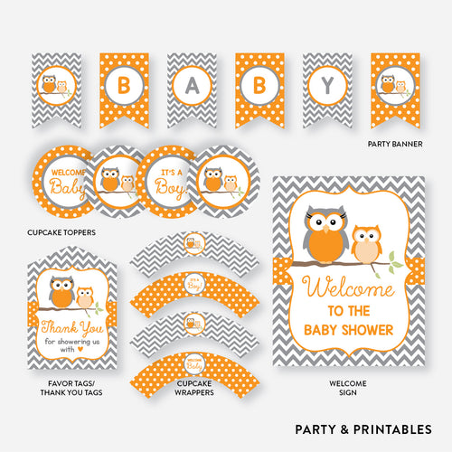 Owl Standard Baby Shower Party Package / Non-Personalized / Instant Download (SBS.47)