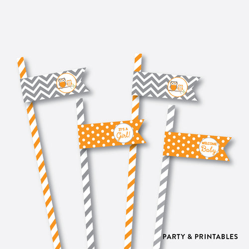 Owl Straw Flags / Non-Personalized / Instant Download (SBS.47)