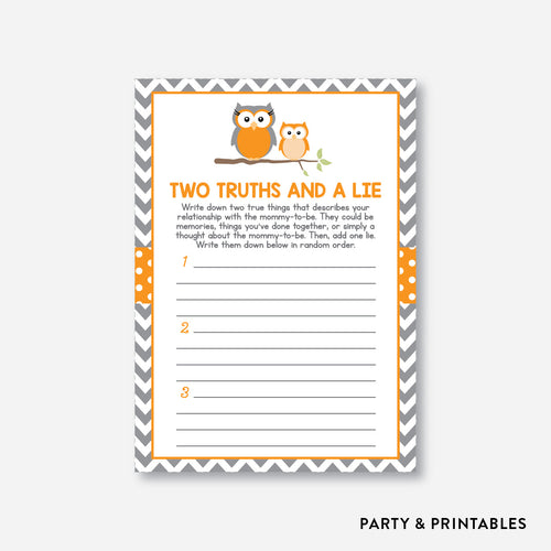 Owl Two Truths And A Lie / Non-Personalized / Instant Download (SBS.47)