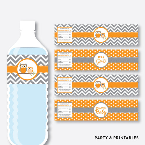 Owl Water Bottle Labels / Non-Personalized / Instant Download (SBS.47)