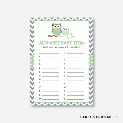 Owl Alphabet Baby Item / Non-Personalized / Instant Download (SBS.48)