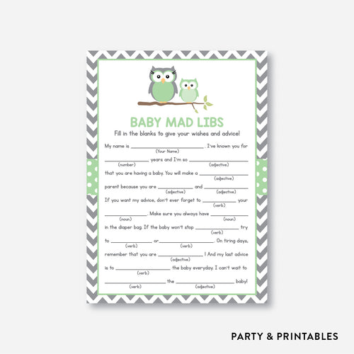 Owl Mad Libs / Non-Personalized / Instant Download (SBS.48)