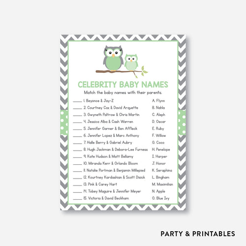 Owl Celebrity Baby Names / Non-Personalized / Instant Download (SBS.48)