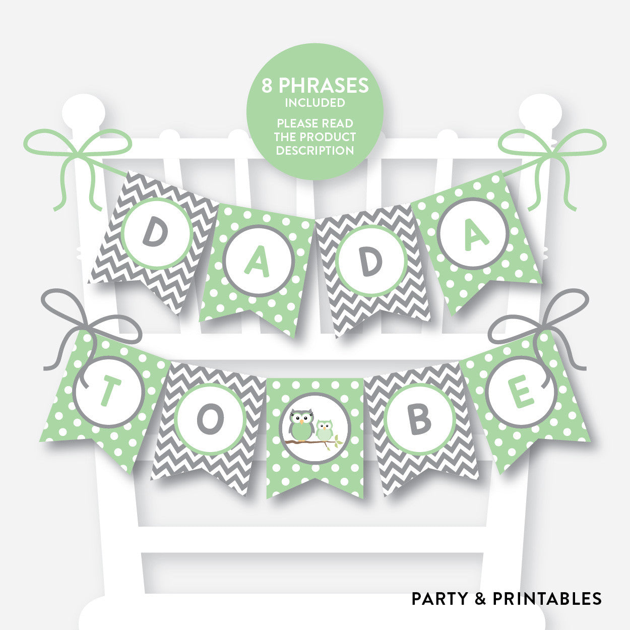 Owl Chair Banner / Baby Shower Banner / Non-Personalized / Instant Download (SBS.48), party printables - Party and Printables
