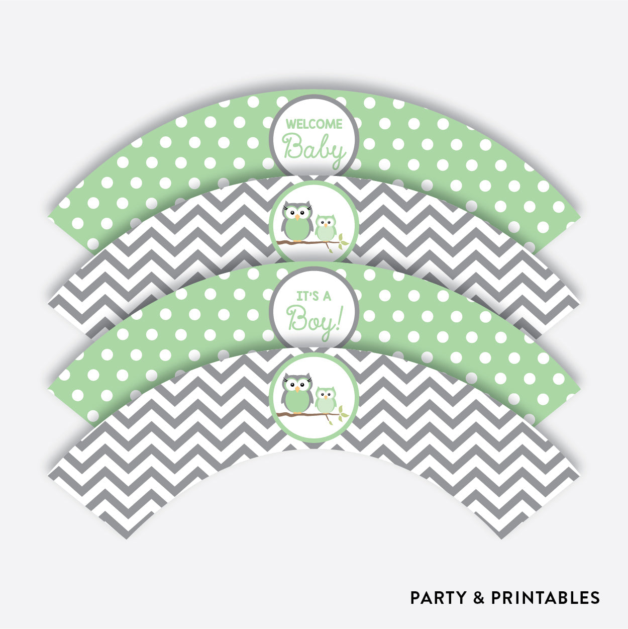 Owl Cupcake Wrappers / Non-Personalized / Instant Download (SBS.48)