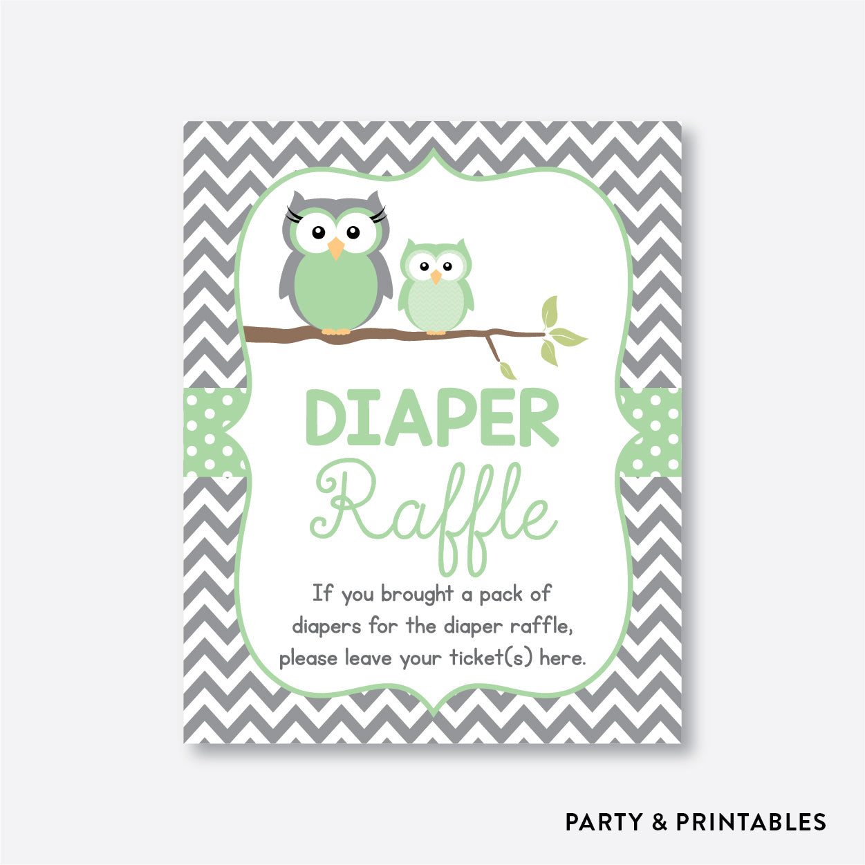 Owl Diaper Raffle / Non-Personalized / Instant Download (SBS.48)