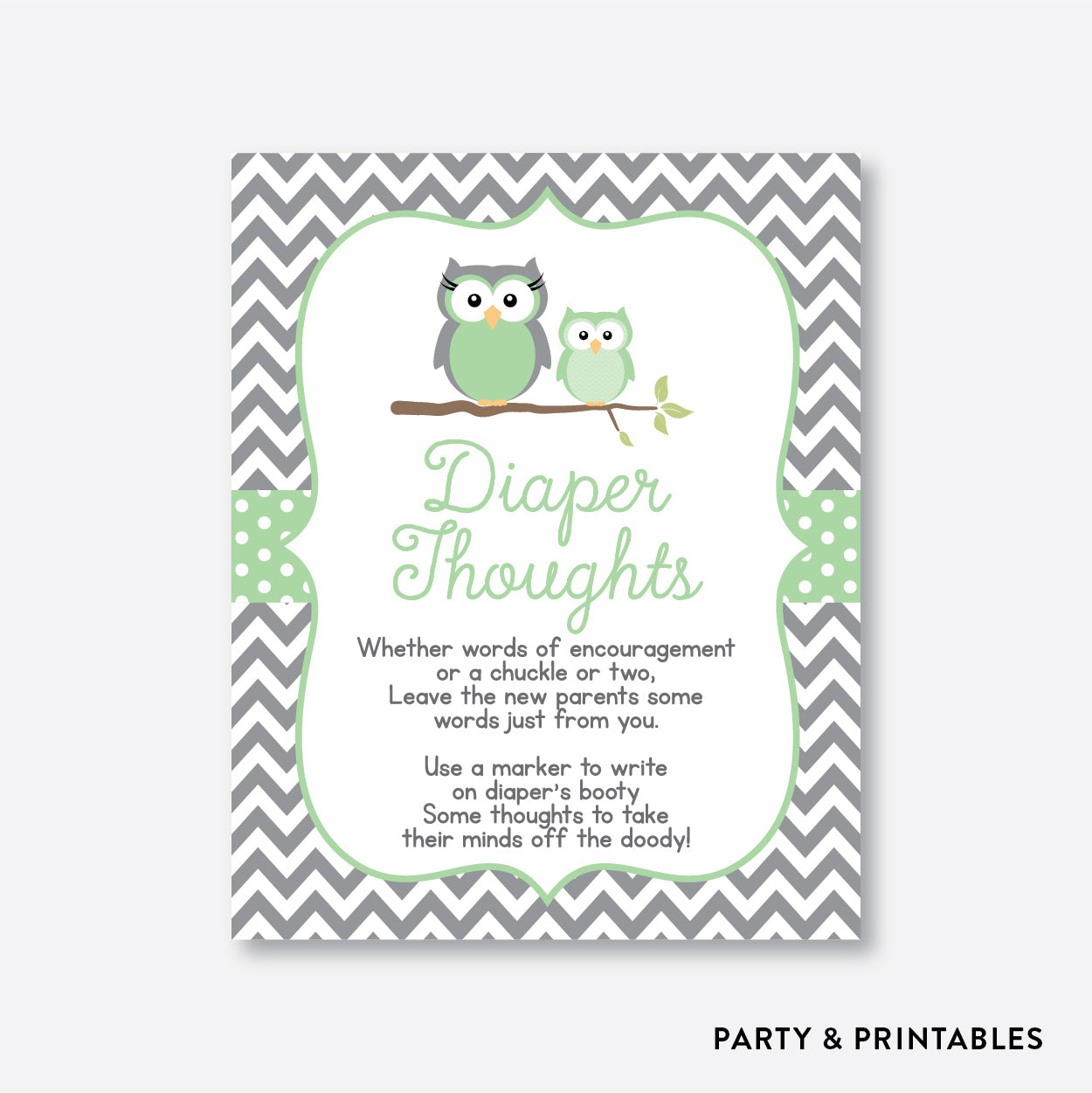 Owl Diaper Thoughts / Non-Personalized / Instant Download (SBS.48)