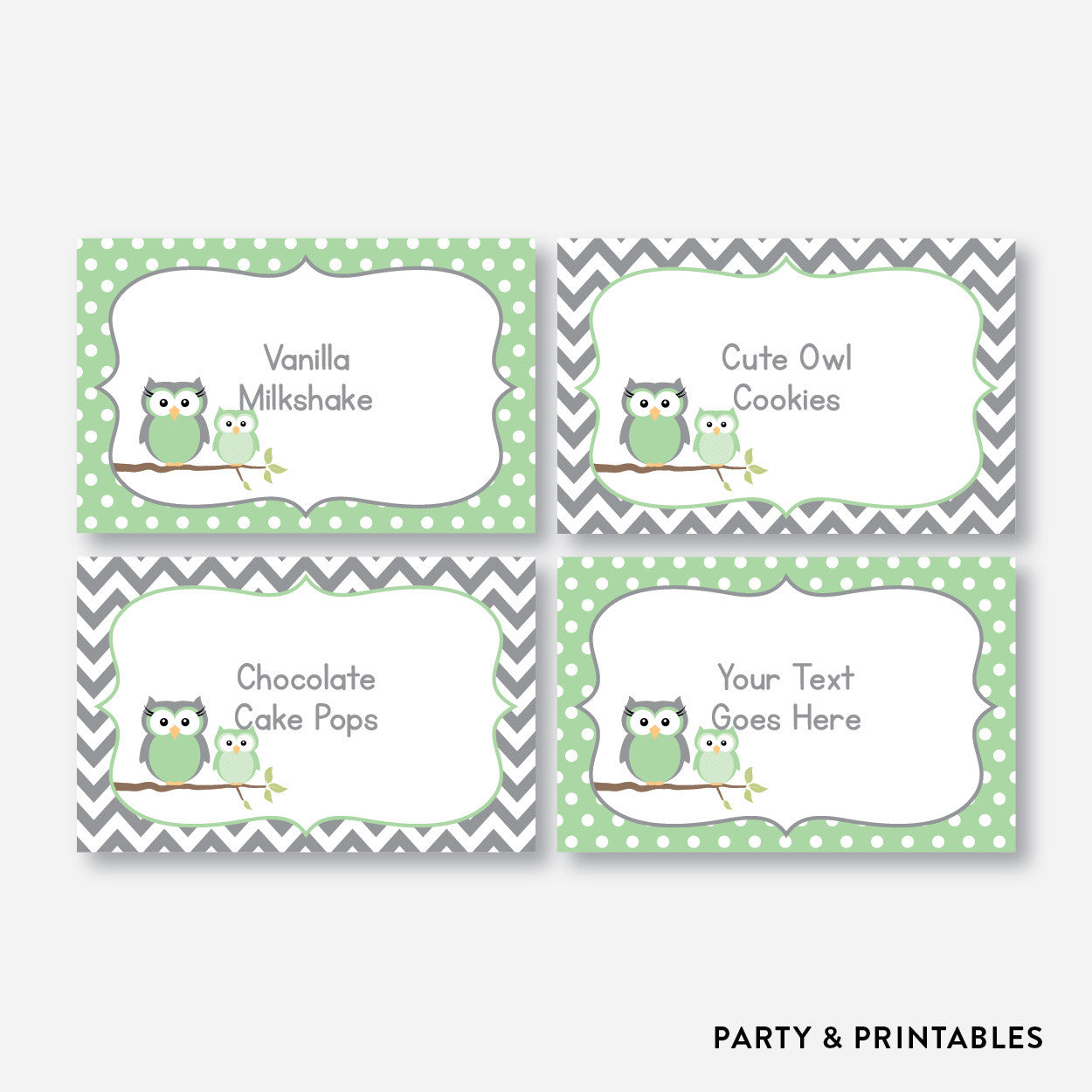 Owl Food Labels / Editable / Instant Download (SBS.48), party printables - Party and Printables