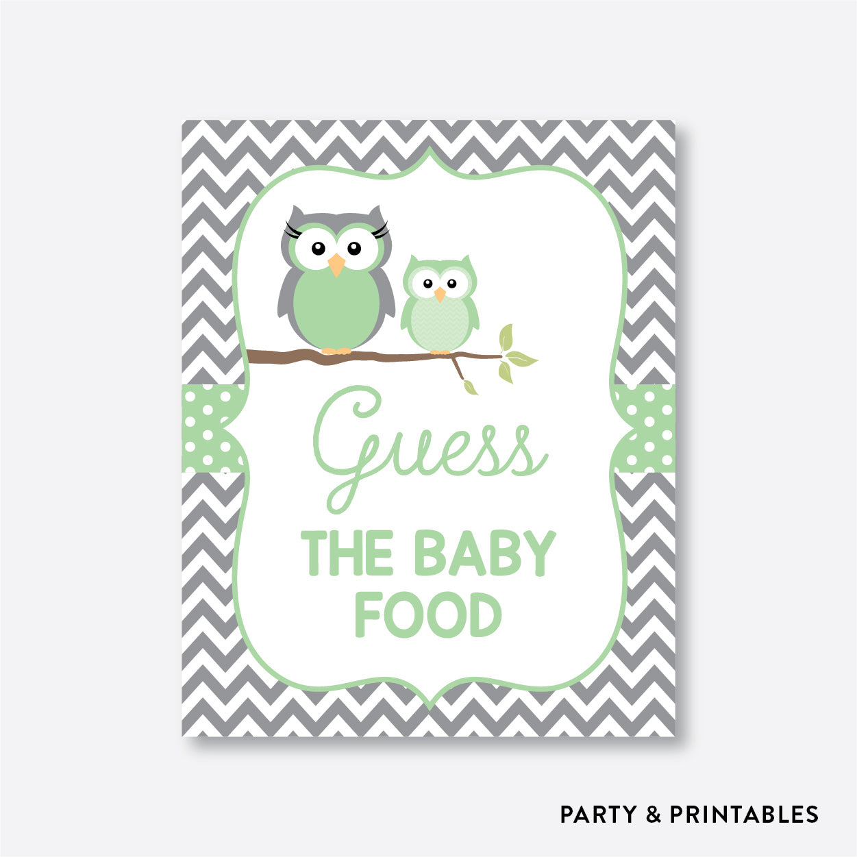 Owl Guess The Baby Food / Non-Personalized / Instant Download (SBS.48)