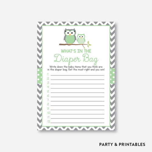 Owl Guess What's In Diaper Bag / Non-Personalized / Instant Download (SBS.48)