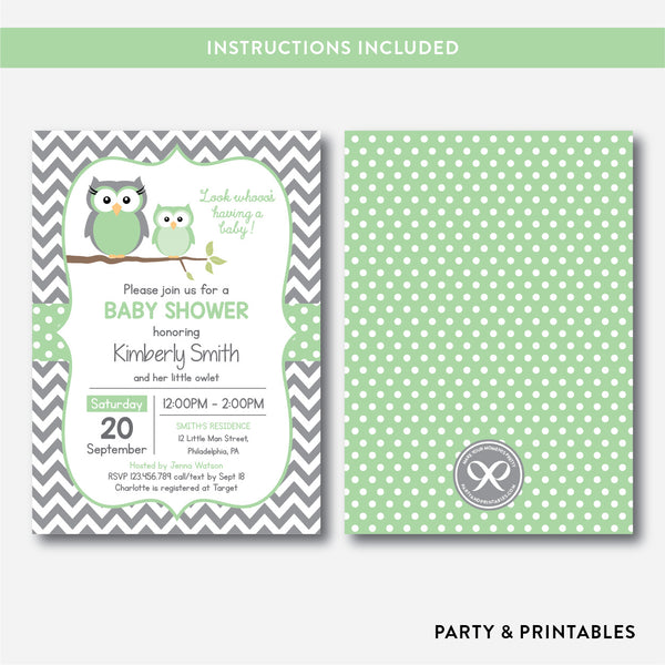 Owl Baby Shower Invitation / Editable / Instant Download (SBS.48)