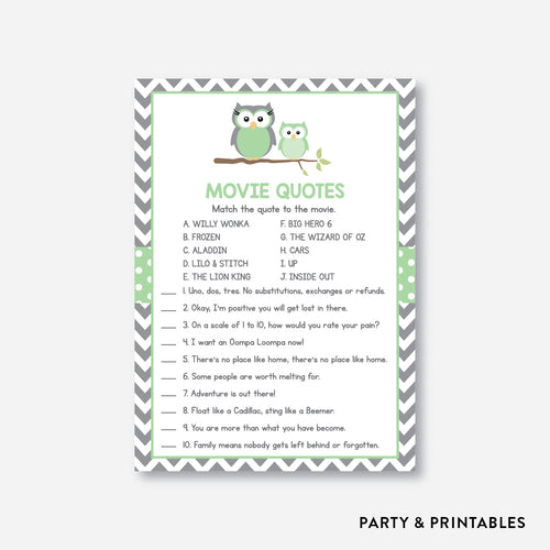Owl Movie Quotes / Non-Personalized / Instant Download (SBS.48)