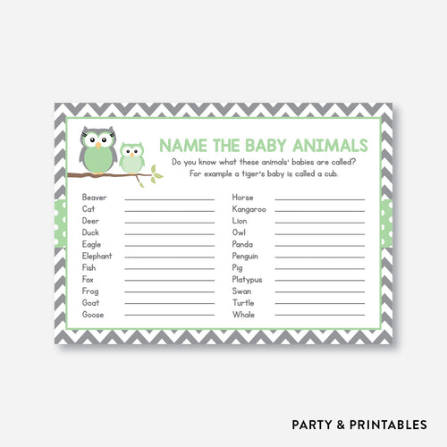 Owl Name The Baby Animals / Non-Personalized / Instant Download (SBS.48)
