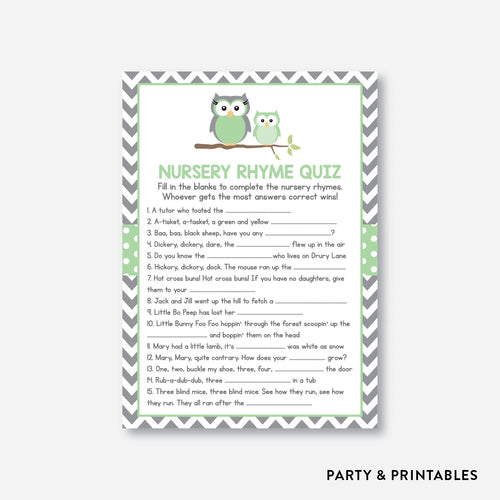 Owl Nursery Rhyme Quiz / Non-Personalized / Instant Download (SBS.48)