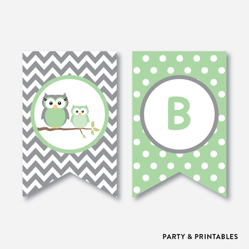 Owl Party Banner / Baby Shower Banner / Non-Personalized / Instant Download (SBS.48)