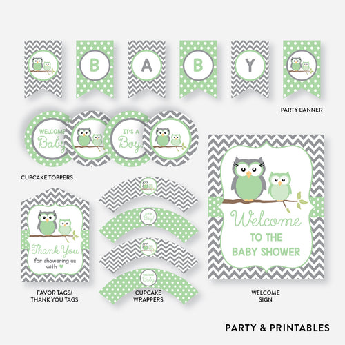 Owl Standard Baby Shower Party Package / Non-Personalized / Instant Download (SBS.48)