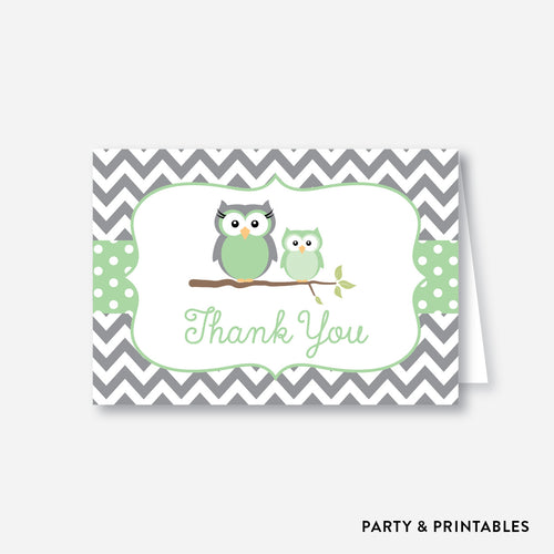 Owl Baby Shower Thank You / Non-Personalized / Instant Download (SBS.48)