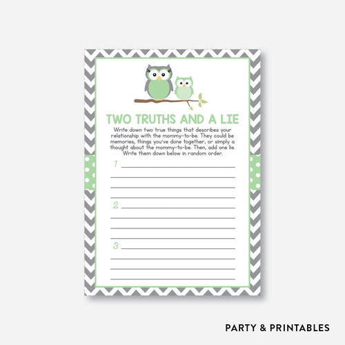 Owl Two Truths And A Lie / Non-Personalized / Instant Download (SBS.48)
