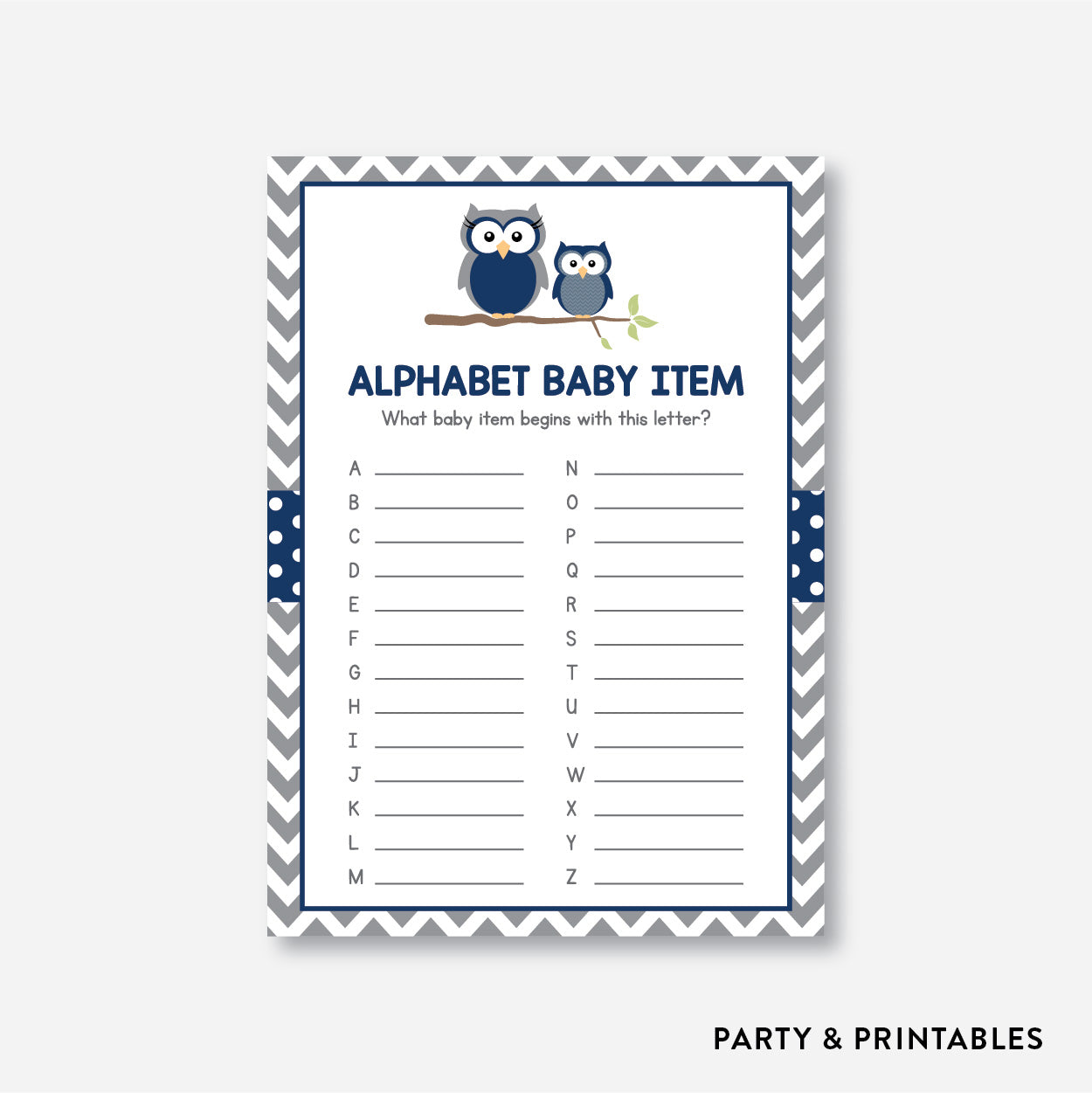 Owl Alphabet Baby Item / Non-Personalized / Instant Download (SBS.49)