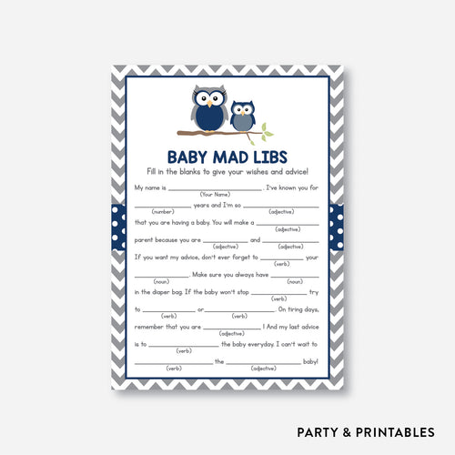 Owl Mad Libs / Non-Personalized / Instant Download (SBS.49)