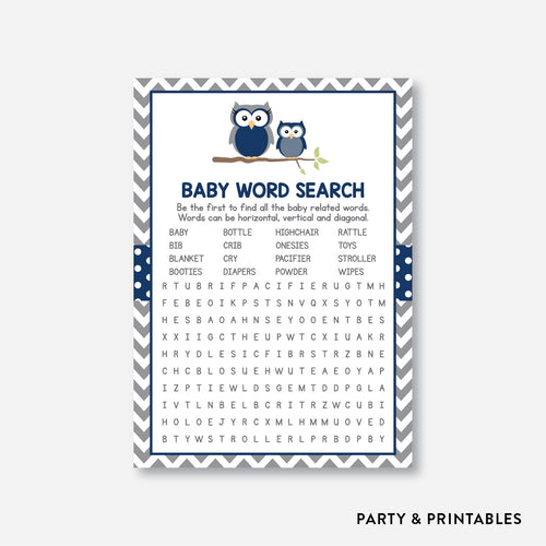 Owl Baby Word Search / Non-Personalized / Instant Download (SBS.49)