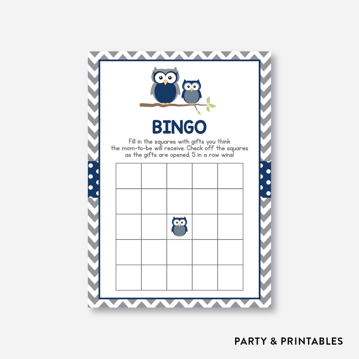 Owl Bingo / Non-Personalized / Instant Download (SBS.49)