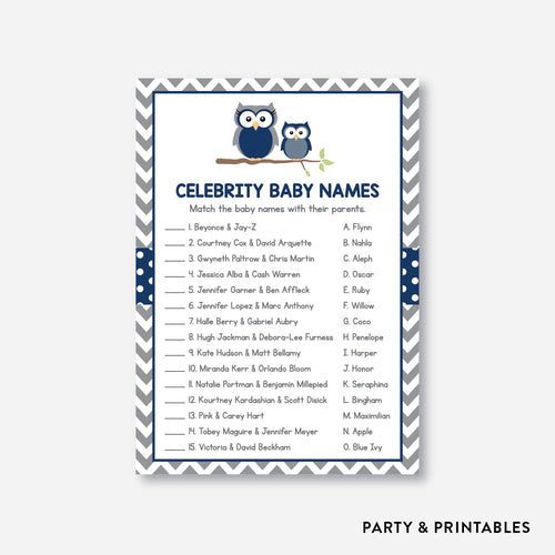 Owl Celebrity Baby Names / Non-Personalized / Instant Download (SBS.49)