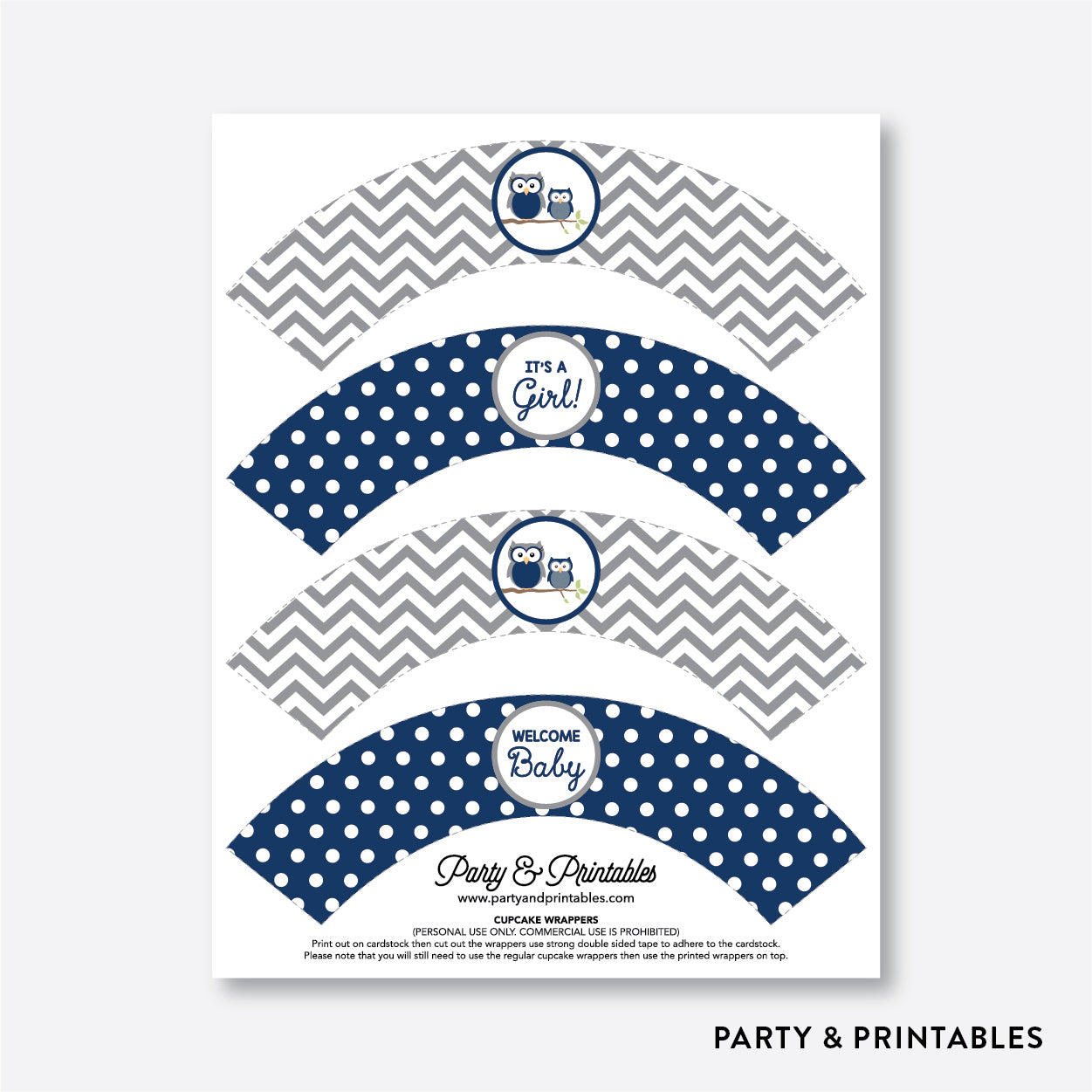 Owl Cupcake Wrappers / Non-Personalized / Instant Download (SBS.49)