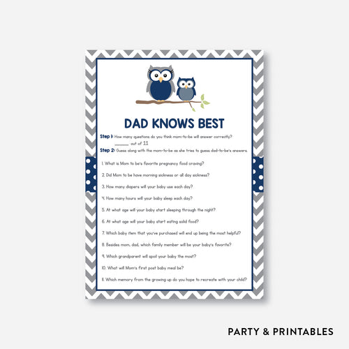 Owl Dad Knows Best / Non-Personalized / Instant Download (SBS.49)