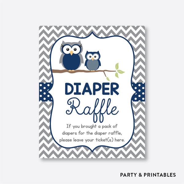 Owl Diaper Raffle / Non-Personalized / Instant Download (SBS.49)