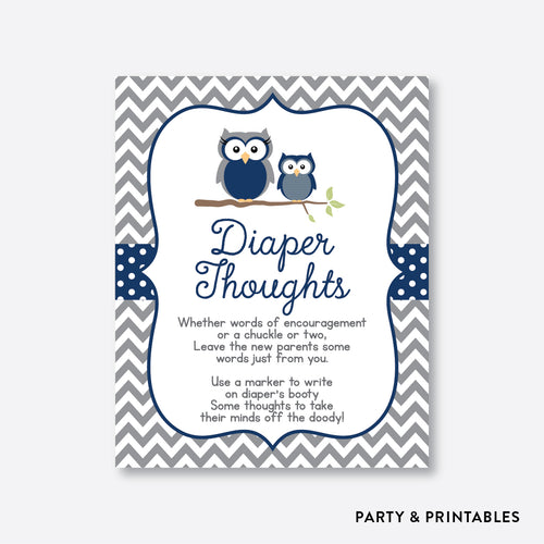 Owl Diaper Thoughts / Non-Personalized / Instant Download (SBS.49)