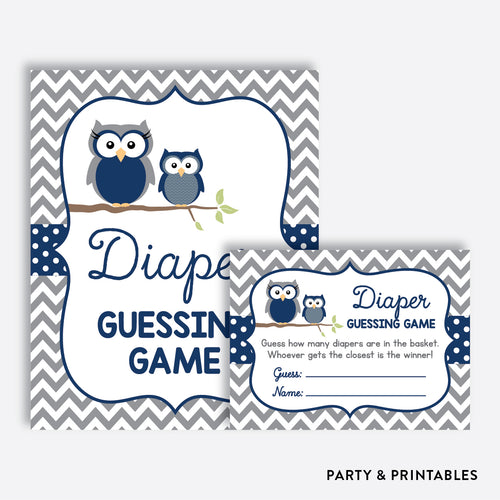 Owl Guess How Many Diapers / Non-Personalized / Instant Download (SBS.49)