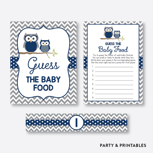 Owl Guess The Baby Food / Non-Personalized / Instant Download (SBS.49)