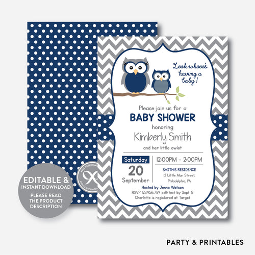 Owl Baby Shower Invitation / Editable / Instant Download (SBS.49)