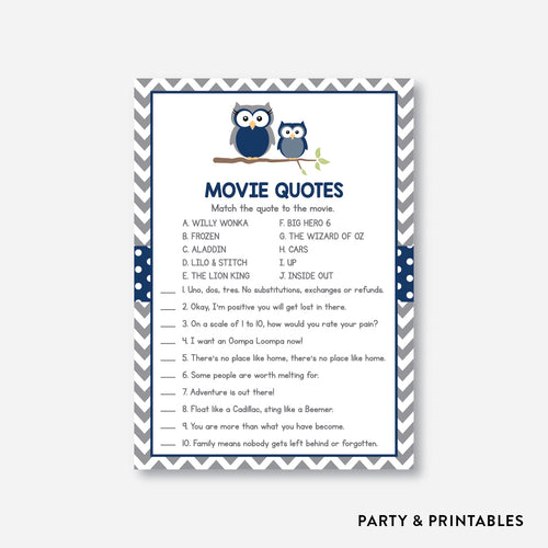 Owl Movie Quotes / Non-Personalized / Instant Download (SBS.49)