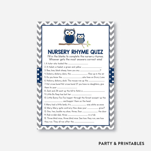 Owl Nursery Rhyme Quiz / Non-Personalized / Instant Download (SBS.49)