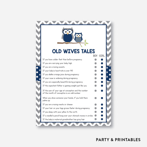 Owl Old Wives Tales / Non-Personalized / Instant Download (SBS.49)