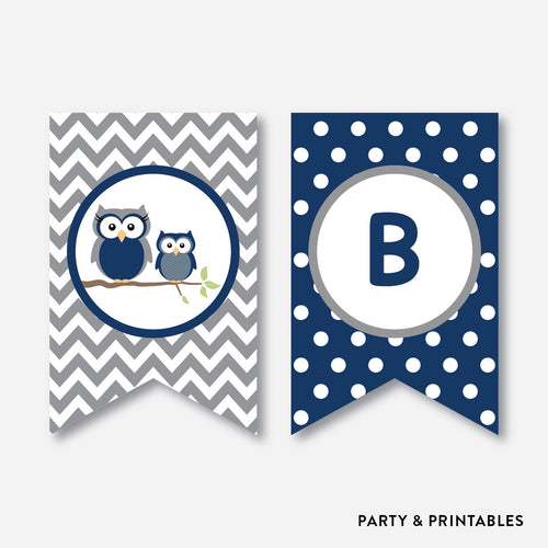 Owl Party Banner / Baby Shower Banner / Non-Personalized / Instant Download (SBS.49)