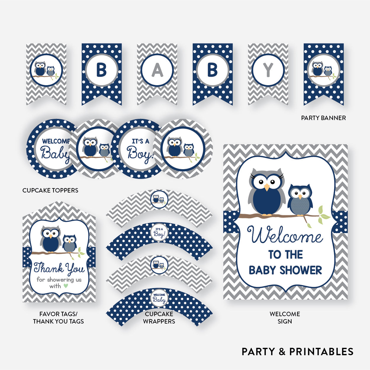 Owl Standard Baby Shower Party Package / Non-Personalized / Instant Download (SBS.49)