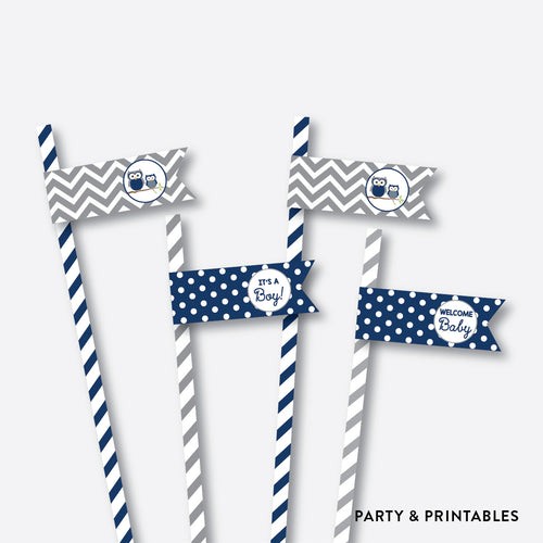 Owl Straw Flags / Non-Personalized / Instant Download (SBS.49)
