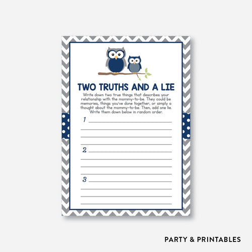 Owl Two Truths And A Lie / Non-Personalized / Instant Download (SBS.49)