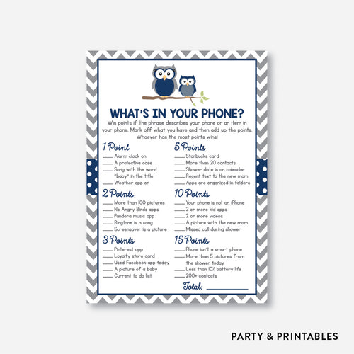 Owl What's In Your Phone / Non-Personalized / Instant Download (SBS.49)