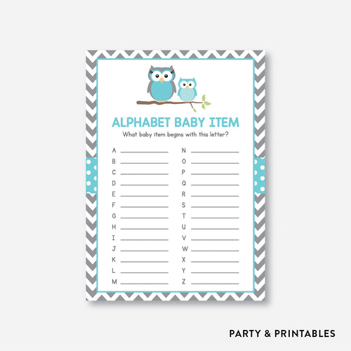Owl Alphabet Baby Item / Non-Personalized / Instant Download (SBS.50)