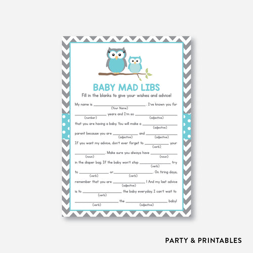 Owl Mad Libs / Non-Personalized / Instant Download (SBS.50)