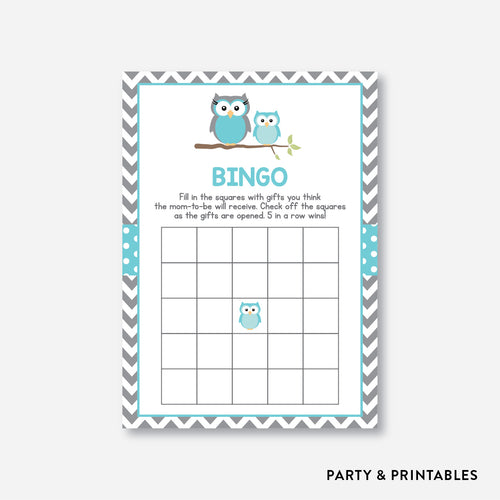 Owl Bingo / Non-Personalized / Instant Download (SBS.50)