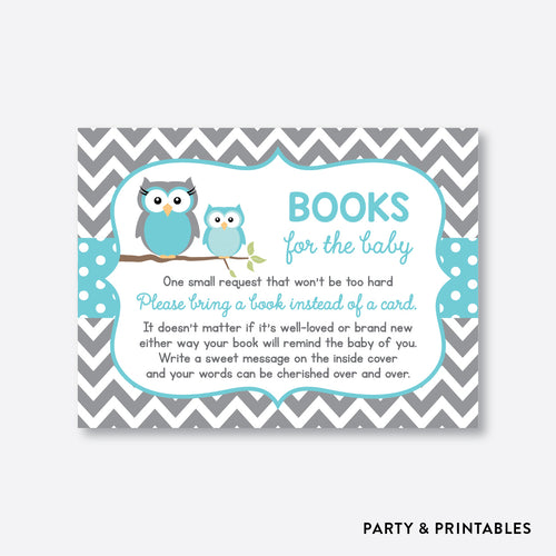 Aqua Owl Books For The Baby / Non-Personalized / Instant Download (SBS.50)