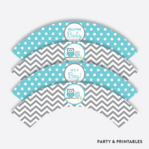 Aqua Owl Cupcake Wrappers / Non-Personalized / Instant Download (SBS.50)