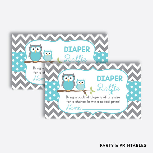 Owl Diaper Raffle / Non-Personalized / Instant Download (SBS.50)